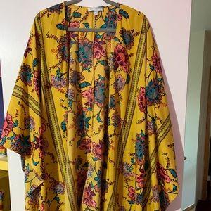 Longer sleeve hi lo kimono in mustard